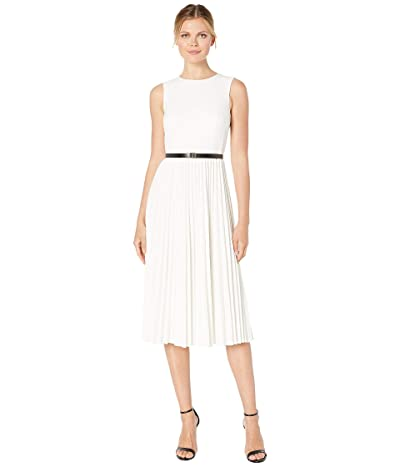 Calvin Klein CK Logo Belt Pleated Dress (Cream) Women