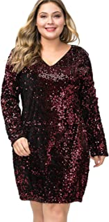 Women's Plus Size Glitter V-Neck Long Sleeve Bodycon Sequin Cocktail Party Club Sparkly Evening Mini Dress