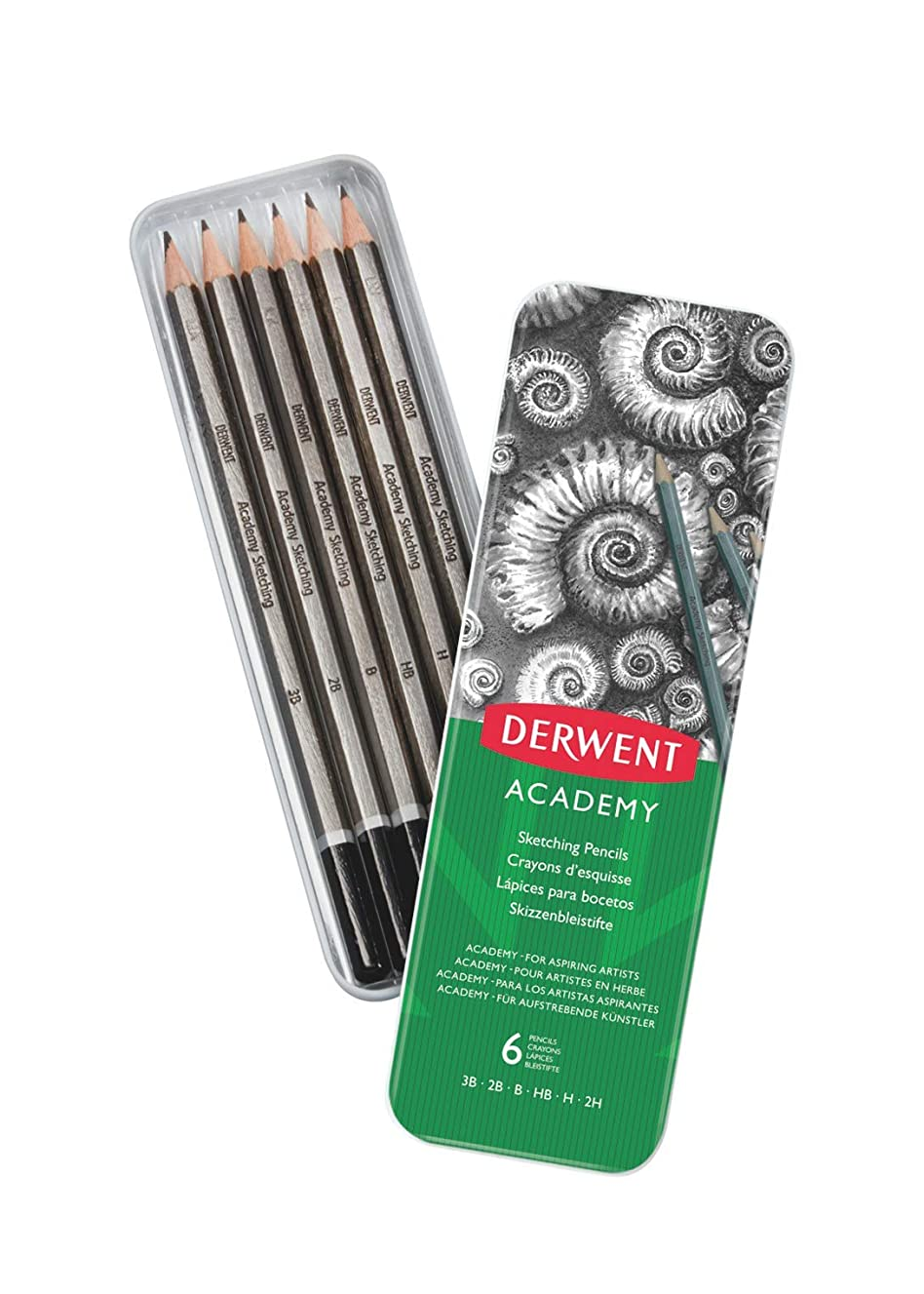 Derwent Academy Sketching Pencils, 6 Degrees of Hardness, Metal Tin, 6 Count (2301945)