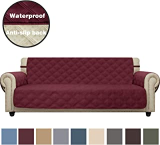 CHHKON Sofa Cover Waterproof with Anti-Skip Dog Paw Print 100% Quilted Furniture Protector Sofa Slipcover for Children, Pets for Leather Couch (Burgundy, XL Sofa)