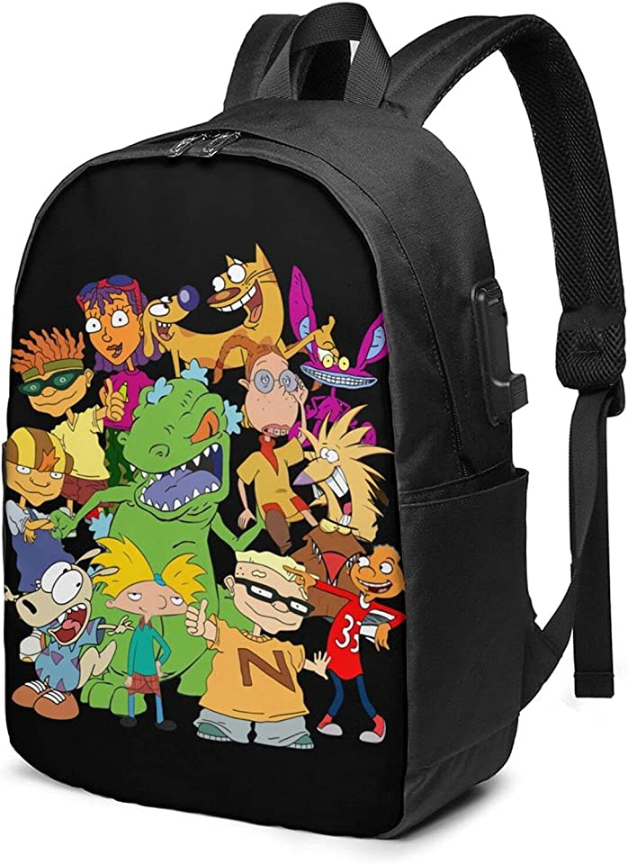 Hey Arnold! Unisex Business 17-Inch Backpack With Usb Charging Port, Casual Hiking Daypack
