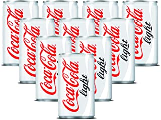 Coca-Cola Light Carbonated Soft Drink , Can -150 ML (Pack of 10)