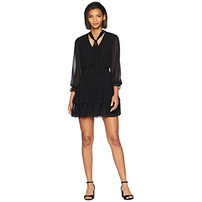 BB Dakota 9 To 5 Tie Neck Dress (Black) Women