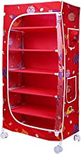 Little One's | 6 Shelves Foldable Wardrobe/Toy Box | Aquatic Red (Made in India)