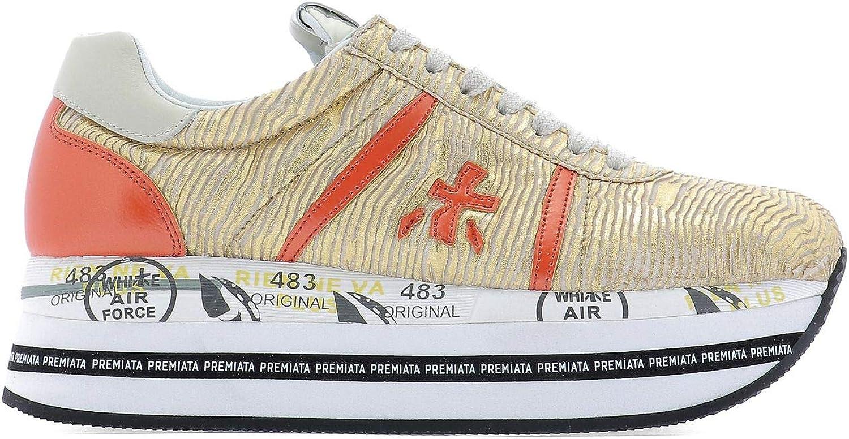 Premiata Women's BETH3657 orange Leather Sneakers