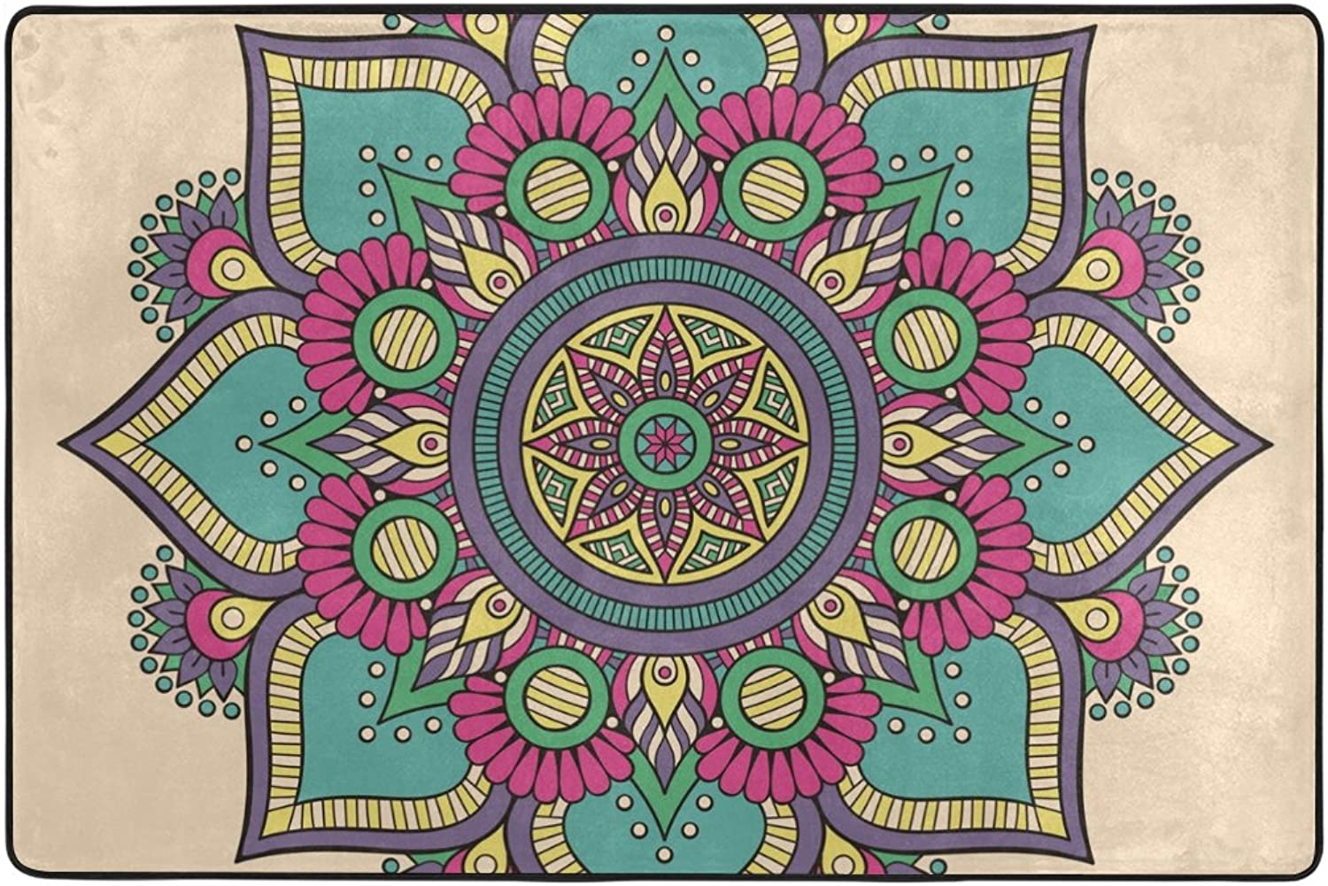 Floral Mandala Decorative Pattern Area Rugs Door Mat 6'x4' Polyester Nonslip Entrance Home Decor for Bedroom Living Room Mats Front Indoor Outdoor