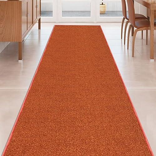 Kapaqua Burnt-Orange Solid Plain Rubber Backed Non-Slip Hallway Stair Kitchen Runner Rug