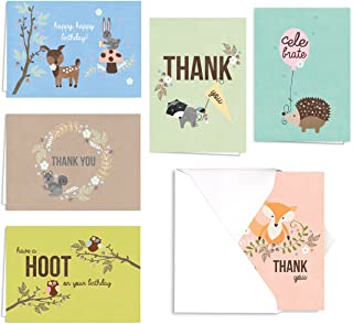 Woodland Animals Birthday and Thank You Note Card Assortment Pack - Set of 36 Cards - 6 of Each Design, Blank Inside - with envelopes