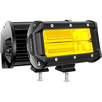 Nilight - Barra de luz led de doble fila, 10800 lúmenes, luces antiniebla de conducción, 12.7 cm, 72 W, 2PCS 5Inch Light Bar - Amber