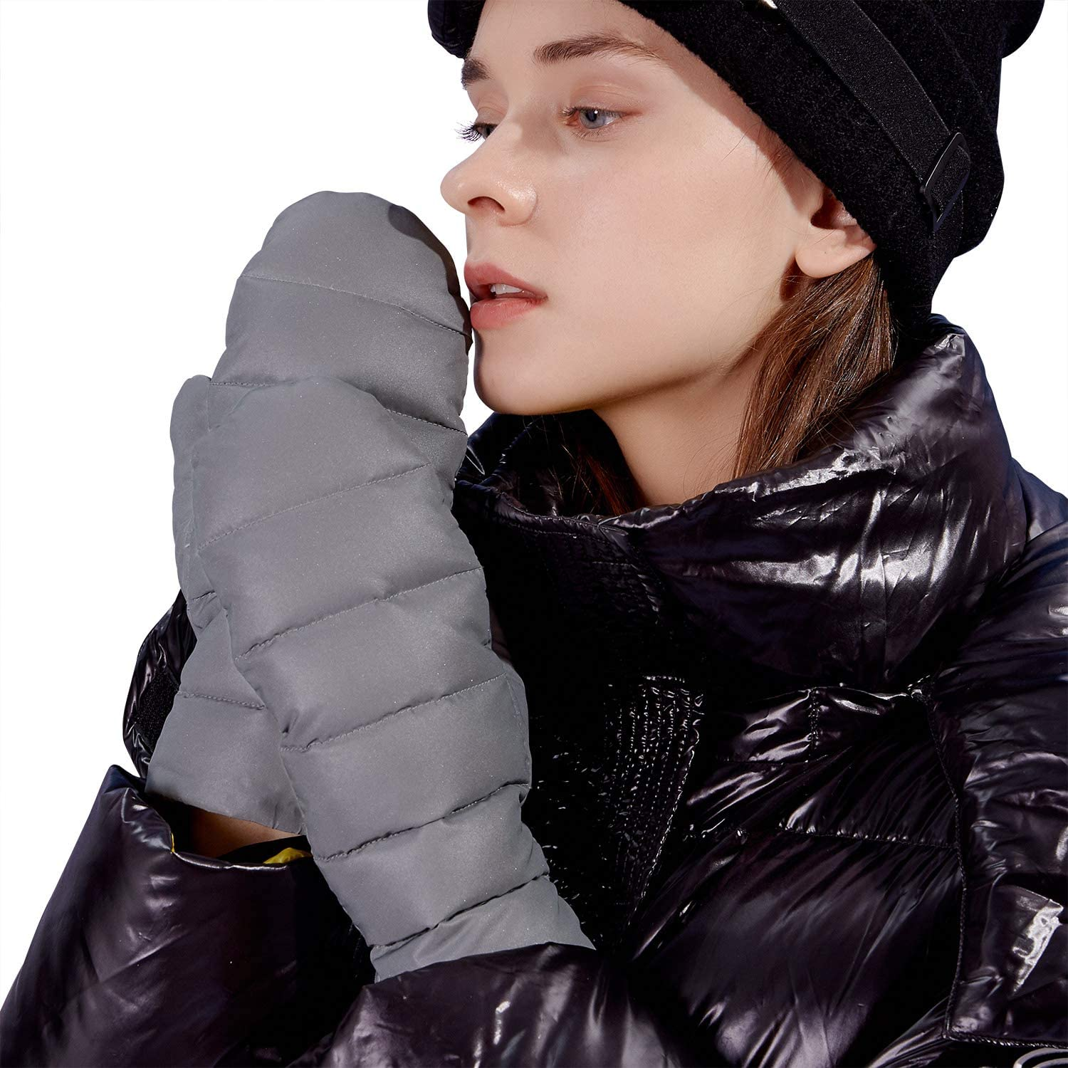 FIORETTO Womens Silver Grey Winter High Reflective Mittens 100% Cotton/Down Lining Winter Gloves