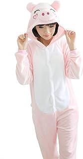 豚 きぐるみ 大人用 パジャマ ルームウェア 動物 コスプレ 仮装 コスチューム ハロウィン クリスマス 男女兼用 (ピンク, M)