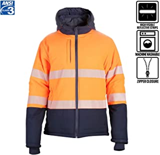 Men's ANSI Class 3 High Visibility Safety Puffer Jacket Segmented Tape Black Bottom Thermal 2XL