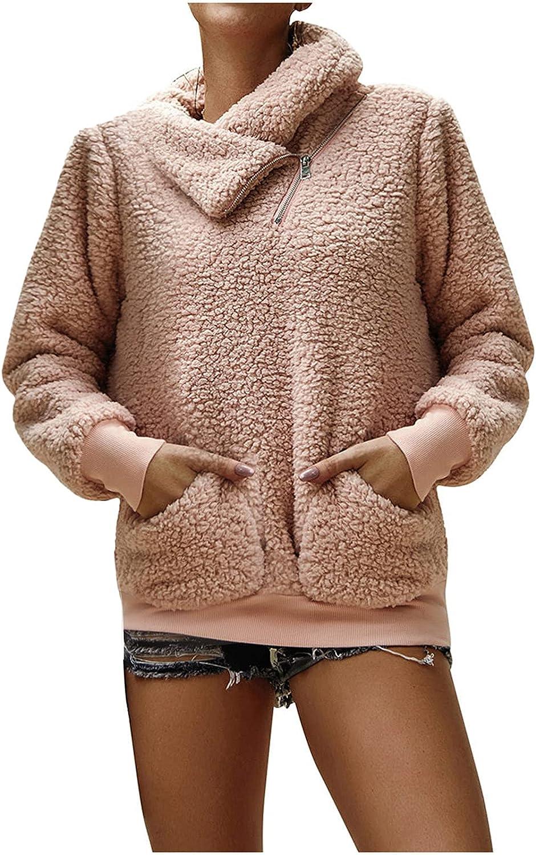 Muugo Coats for Women Winter Faux Fur Zipper Long Sleeve Fashion Solid Color Fleece Warm Outwear Jacket with Pocket