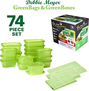 Debbie Meyer GreenBoxes & GreenBags Combo Set, Food Storage Containers with Lids & Bags, Keep Fruits Vegetables, Baked Goods & Snacks Fresher Longer! BPA Free Microwave & Dishwasher Safe 74 Piece Set