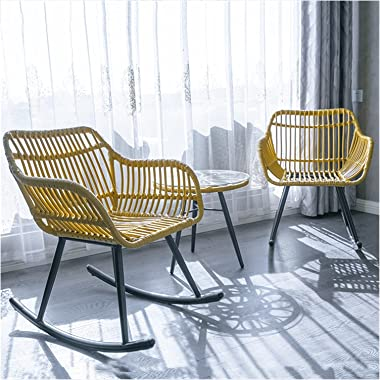 LAMZ Red Rocking Chair Three-Piece Set Rattan Balcony Leisure Table and Chair Combination of Outdoor Folk-Custom Backrest Cha