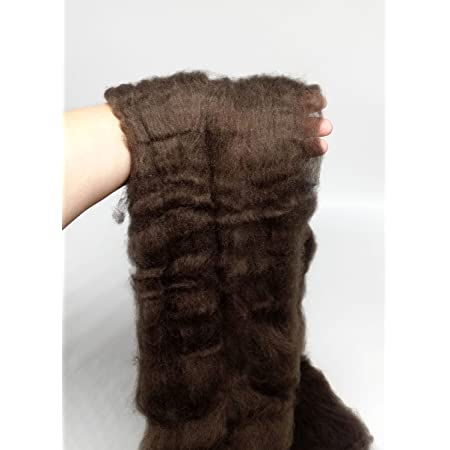De-Haired Yak Combed Top Roving Dark Brown