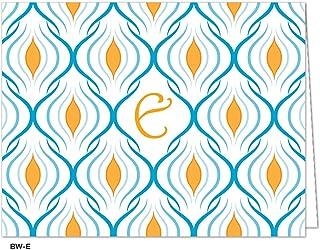 Oatmeal Studios Blank Monogram Cards Weave Notes, Blue/Letter E