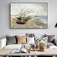 tzxdbh Van Gogh Barco De Pesca Lienzo Pinturas Murales Reproducciones En La Playa Marina Pintura Al Óleo para La Decoración De La Sala De Estar40X60