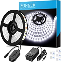 Dimmable LED Strip Lights, MINGER White Strip Light LED Mirror Lights Kit for Vanity Makeup Dressing Table 6500K Bright White Daylight, 300 LEDs, 16.4FT Under Cabinet Lighting Strips for Kitchen