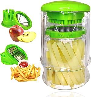 TOCOOK Coupe Frites découpe légumes - Coupe Pommes Rapide - Multifonctions 2 Lames en INOX - Machine Manuel Usage Facile -...