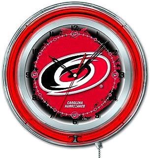 Holland Bar Stool Co. Carolina Hurricanes HBS Neon Red Hockey Battery Powered Wall Clock (19