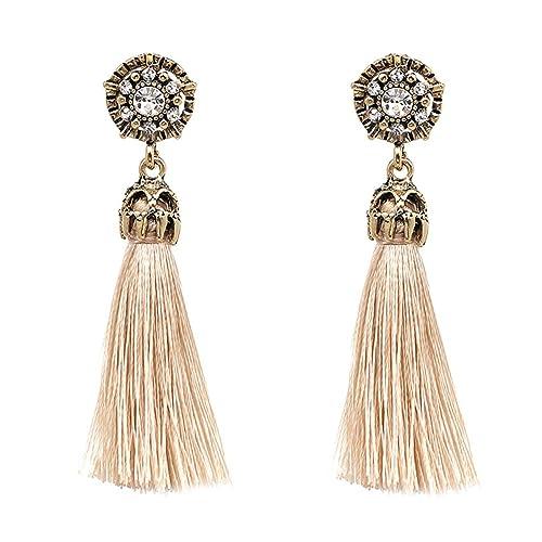 eb7a9f952 Women Vintage Earring Hollow Crystal Tassel Dangle Stud Earrings