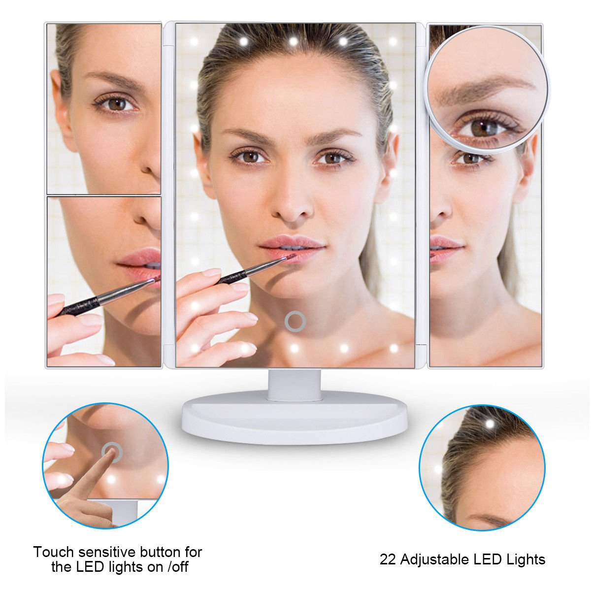 PiggiesC 180° Rapid rise Vanity Makeup Mirror Limited time sale 10xMagnifying T 22LED Trifold