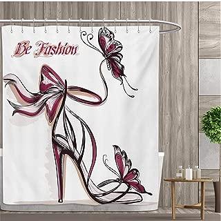 小さなピンクシャワーカーテンコレクション ハイヒールシューズ 蝶とリボンの飾り付き Be Grace Sprucenessテーマ パターンシャワーカーテン 36インチx72インチ ドライローズブラック 60 x 72 (inch)