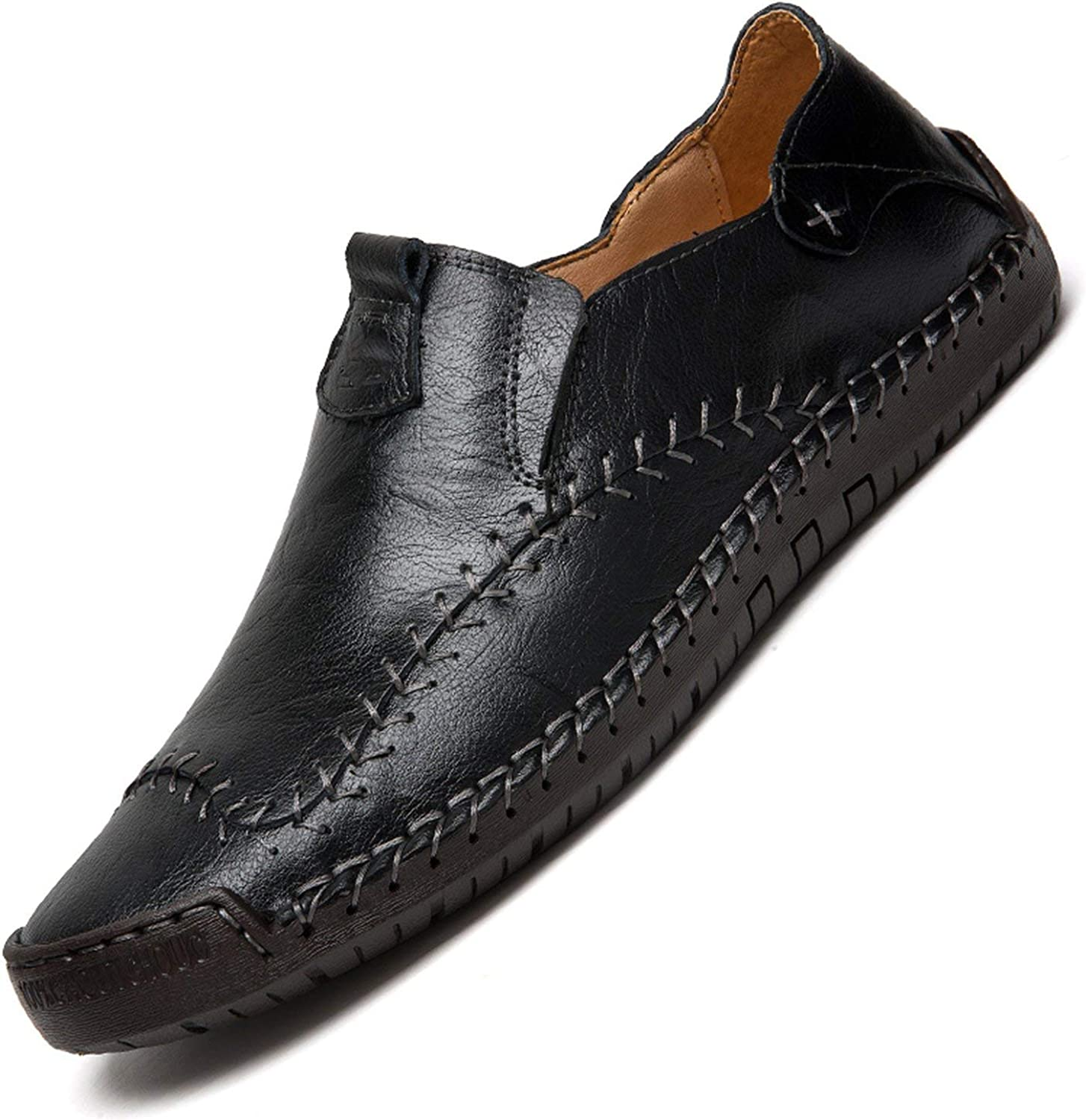 OH WHY Men's Genuine Leather Loafers shoes Handmade Soft Breathable Moccasins Flats Slipe On shoes