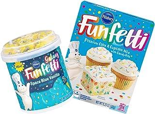 Pillsbury Funfetti Premium Cake & Cupcake Mix with Frosting Bundle (Space Blue Vanilla)