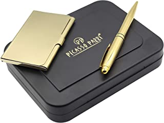 Picasso Parri 2in1 Full Gold Customizable Set with a Gold Plated Pen & Card Case. Luxury & Premium Gifts for Men & Women.
