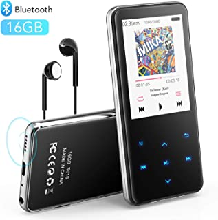 """MP3 Player with Bluetooth, AGPTEK 2.4"""" Screen 16GB Lossless Music Player, Built-in Speaker, Touch Button, Support FM Radio..."""