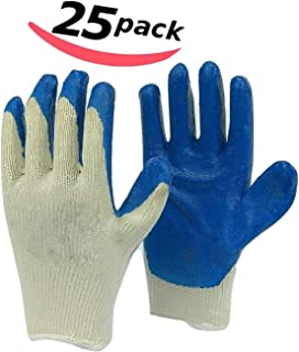 Bella Kline Large Blue PVC Dipped Cotton String Knit Working Gloves - 25 pairs