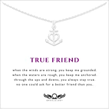 Friendship Anchor Sterling Silver Necklace - Unique Best Friend Gift for Birthday Holiday