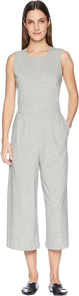 Organic Cotton Speckled Knit Round Neck Tank Cropped Jumpsuit