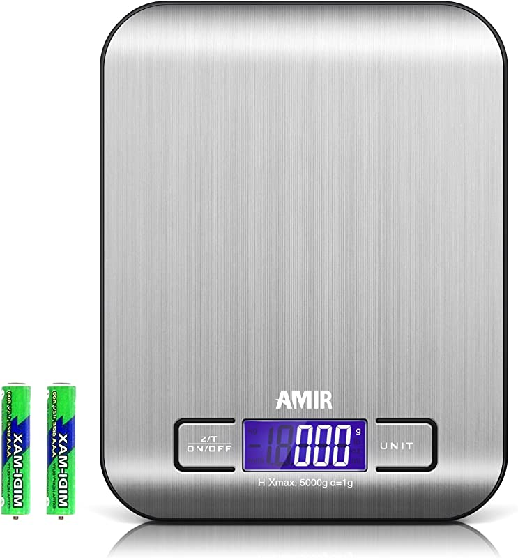 AMIR Digital Kitchen Scale 5kg 0 05oz 1g Cooking Scale Accuracy Food Scale 6 Units Back Lit LCD Display Tare Auto Off Function Stainless Steel Slim Design Batteries Included Black Base