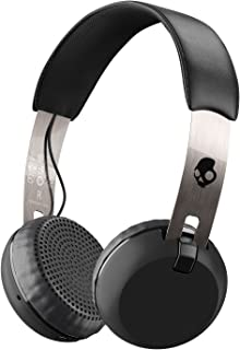 Skullcandy Grind Bluetooth Wireless On-Ear Headphones with Built-In Mic and Remote, 12-Hour Rechargeable Battery, Supreme Sound Audio, Plush Ear Pillows for Comfort, Black/Chrome