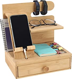 TQVAI Bamboo Desktop Phone Docking Station with Drawer Home & Office Wallet Stand Glasses Holder Watch Organizer for Men, Husband, Daddy Gift, Original