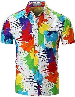 Vcenty Men's Geek Psychedelic Splash-Ink Printed Slim Fit Short Sleeve Dress Shirts