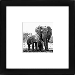 Americanflat 8x8 Picture Frame in Black - Displays 4x4 With Mat and 8x8 Without Mat - Composite Wood with Shatter Resistan...
