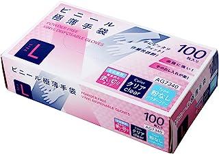 エース プラスチック手袋 使い捨て手袋 パウダーフリー 粉なし 1箱100枚入 Lサイズ AG7340