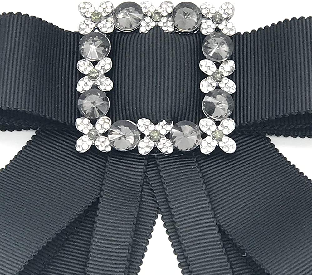 Rhinestone Crystal Ribbon Brooches Bow Brooch Bow Tie for Women Wedding Party Bow Tie
