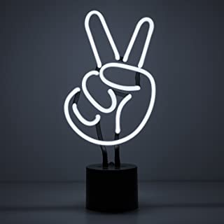 """Amped & Co Peace Sign Real Neon Light Indoor Desk Lamp, Large 6.9x14.5"""", White Glow"""