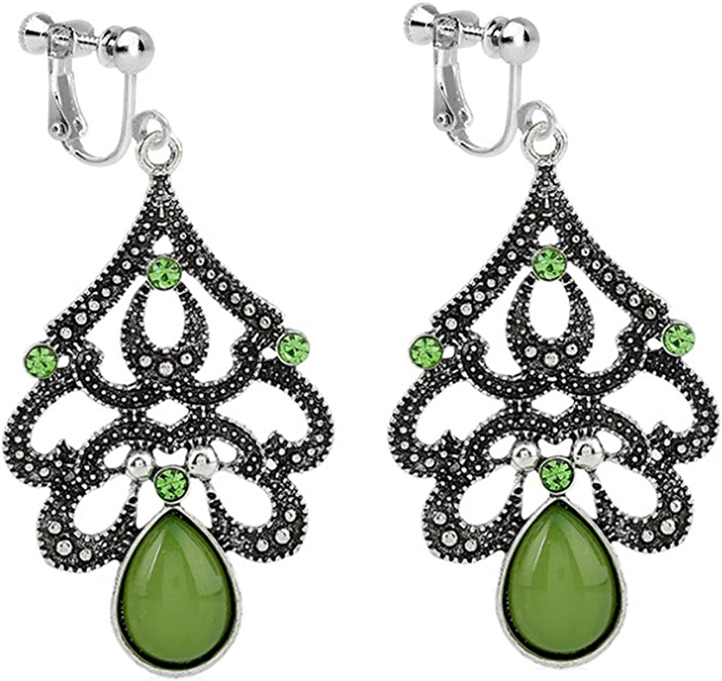 Usresu Vintage Clip on Earrings Waterdrop Dangle Tassels Created Cat Eye Stone Green Lovers Proms