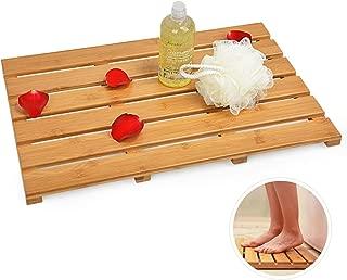 Domax Bath Mat Bathroom Floor Mats - for Shower Non Slip Waterproof Eco-Friendly Square Bamboo Rugs Indoor & Outdoor