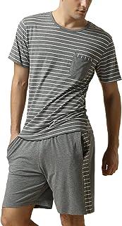 Pijamas para Hombre, Pijamas Hombre Primavera Verano, Hombre Camisones Deportes Corta, Rayas Algodón Suave y cálido Manga Corta y Pantalones Cortos
