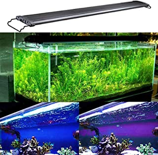 KZKR Aquarium Hood Lighting LED Fish Tank Light 24-84 inch Lamp for Freshwater Saltwater Marine Full Spectrum Blue and White Decorations Light