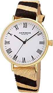 Akribos Animal Print Cavallino Leather Strap Watch - Slim Case Fashionable with Multiple Colors Women's - AK1080