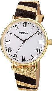 ساعة اكريبوس انيمال مطبوعة بحزام جلدي - AK1080