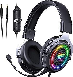 Audífonos Gamer Auriculares para juegos Auriculares PS5 Auriculares Xbox One, Auriculares para juegos con cancelación de ruido con luz RGB, Micrófono Crystal Clear con sonido envolvente 7.1 para PS5, PS4, Xbox One, PC, Mac (Plata)X10
